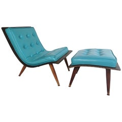 Midcentury Scoop Chair with Ottoman