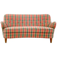 Midcentury Scottish Patterned Red, Green and Yellow Fabric Sofa, Italy 1950s