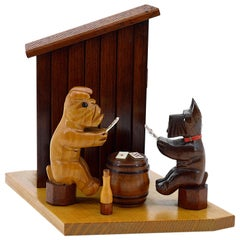 Midcentury Scottish Terrier and Bulldog Cigarette Box, 1950s