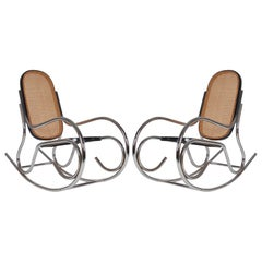 Midcentury Scrolled Chrome and Cane Rocking Chair in the Manner of Marcel Breuer