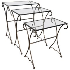 Midcentury Scrolling Iron Patio Nesting Side Tables with Glass Tops, Set of 3