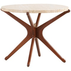 Midcentury Sculpted Jax Side Table with Marble Top