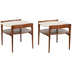 Midcentury Sculpted Walnut & Italian Travertine Side Tables by Gordon Furniture