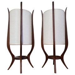 Midcentury Sculpted Wood Lamps by Modeline, a Pair