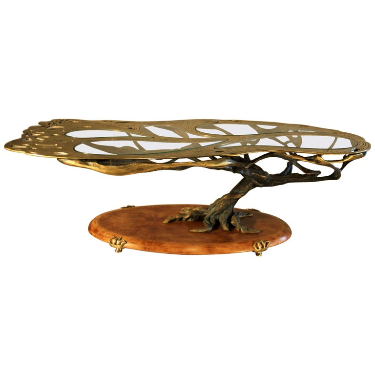 Midcentury Sculptural Cast Bronze Coffee Table For Sale