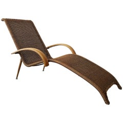 Midcentury Sculptural Italian Modern Cane and Bamboo Chaise Lounge Chair