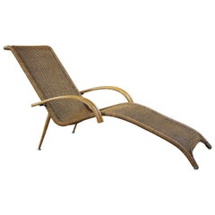 Midcentury Sculptural Italian Modern Cane and Bamboo Chaise Lounge Patio Chair