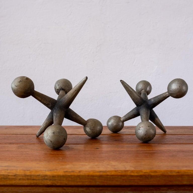 Midcentury Sculptural Jacks Bookends For Sale 1