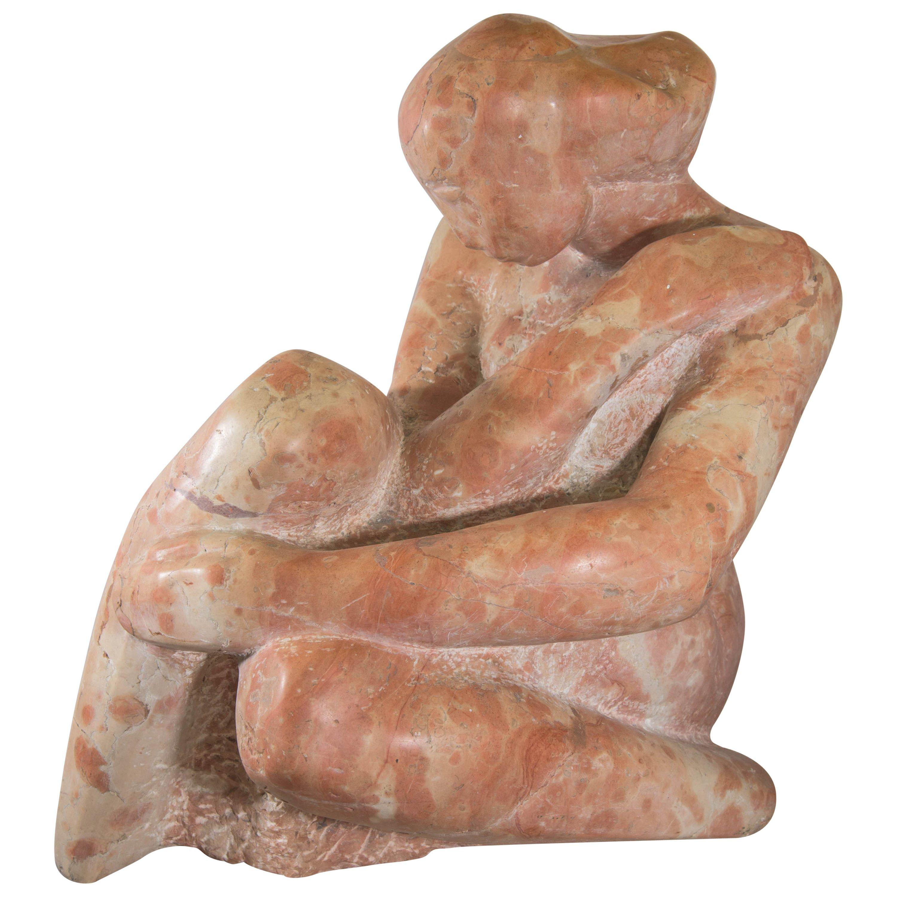 Midcentury Sculptural Nude in Rouge Marble in the Style of Claire McArdle