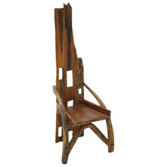 Midcentury Sculptural Olive Wood and Walnut French Chair, 1940s