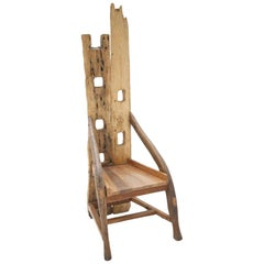Midcentury Sculptural Olive Wood and Walnut French Chair