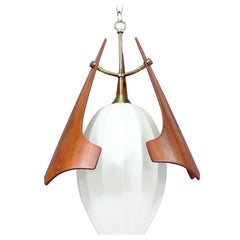 Midcentury Sculptural Walnut Pendant Chandelier with Frosted Glass