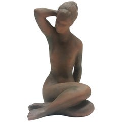 Midcentury Sculpture of Nude Setting Women Designed by Jitka Forejtová, 1960s