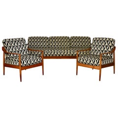 Midcentury Seating Group by Knoll, Teak wood, Reupholstery, Germany, 1950s