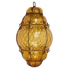 Midcentury Seguso Handblown Murano Amber Glass Cage Italian Pendant Light, 1940s