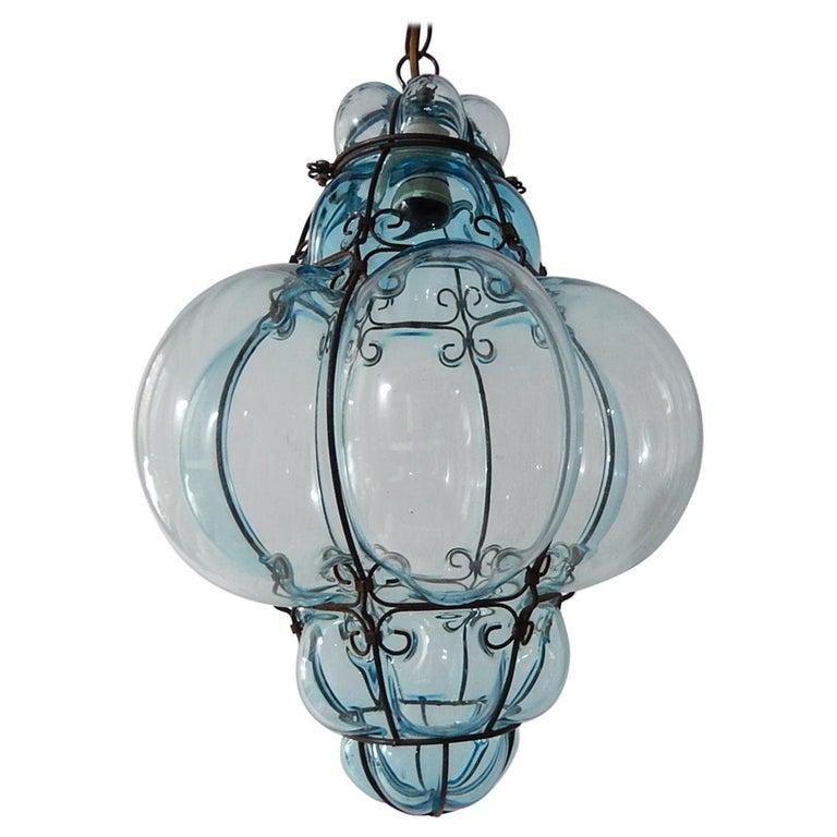 Midcentury Seguso Murano Aqua Blue Bubbles Blown Lantern Chandelier