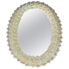 Midcentury Seguso Oval Mirror Murano Glass Flowers Golden Clear, Italian, 1950s
