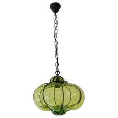 Midcentury Seguso Style Murano Green Bubbles Blown Lantern Chandelier