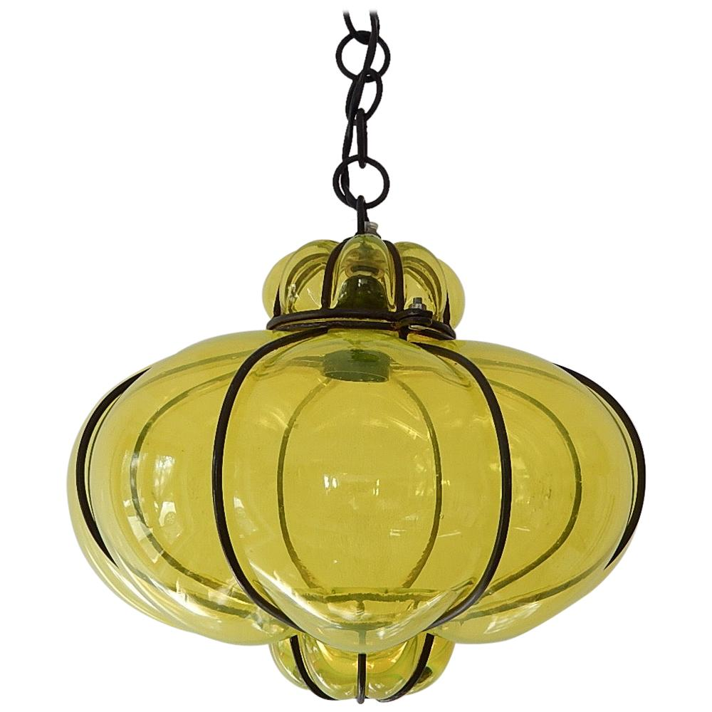 Midcentury Seguso Style Murano Neon Yellow Bubbles Blown Lantern Chandelier