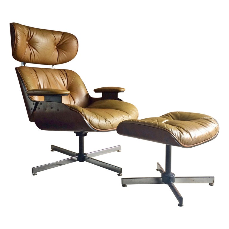Midcentury Selig Plycraft Lounge Chair And Ottoman Circa