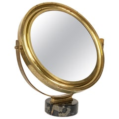 "Midcentury Sergio Mazza Round Italian Table Mirror ""Narciso"" for Artemide, 1960s"
