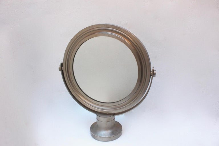 Midcentury Sergio Mazza Round Table Mirror for Artemide, 1976, Fair Condition.