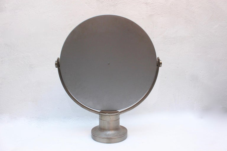 Plated Midcentury Sergio Mazza Round Table Mirror for Artemide, 1976 For Sale