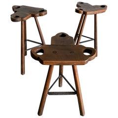 Midcentury Sergio Rodrigues Style Marbella Brutalist Oak Bar Stools, 1960, Spain