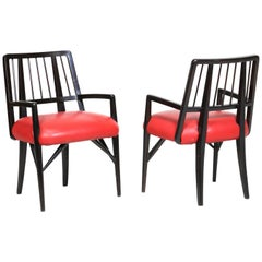 Midcentury Set Chairs by Paul Laszlo in Black Lacquered Wood, 1950s
