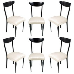 Midcentury Set Dining Chairs Ebonized Mahogany Ico Parisi Style, Original Seat