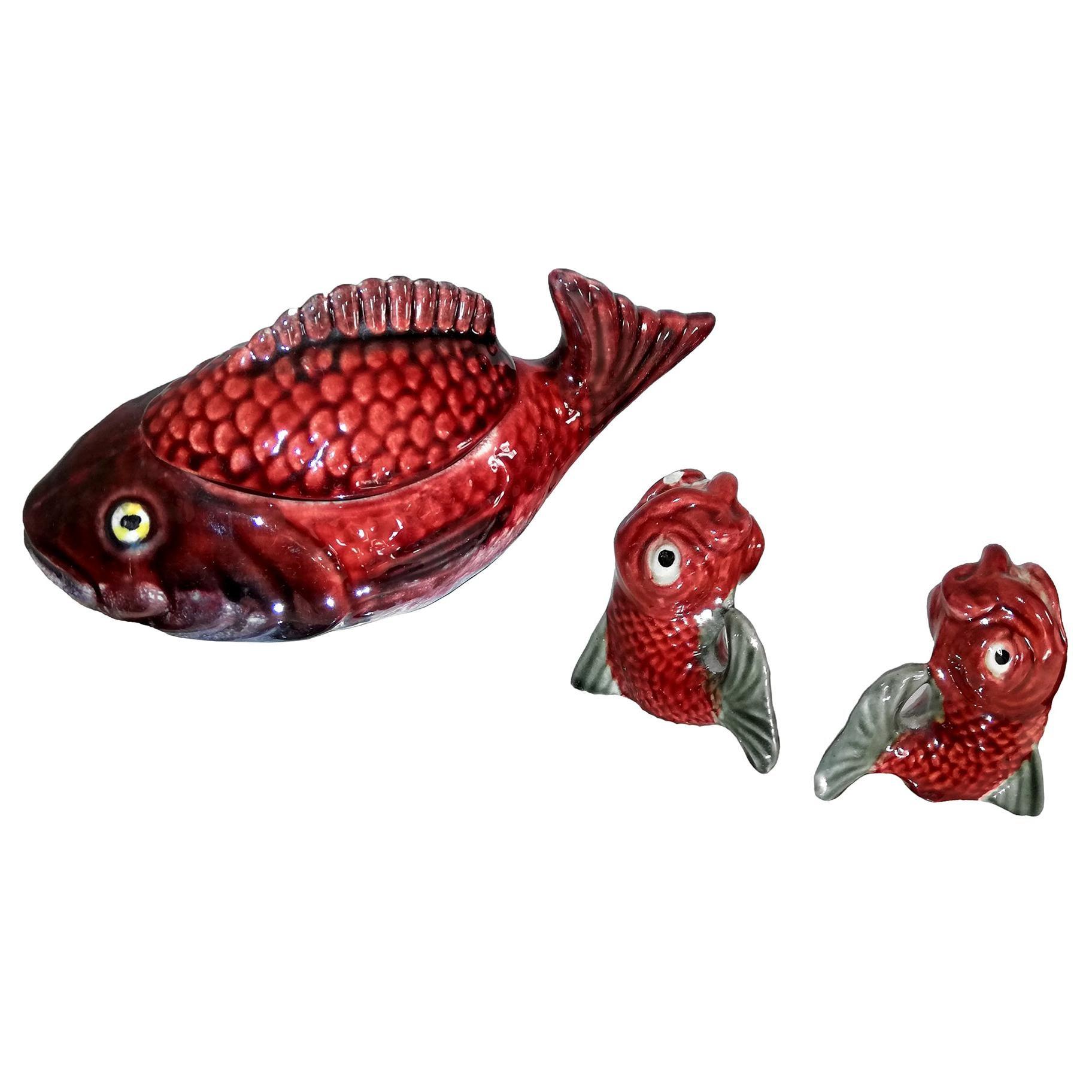 Midcentury Set Majolica Red Fish Ceramic Covered Sauce Tureen Box Salt & Pepper