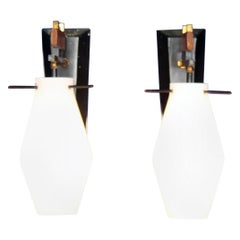 Midcentury Set of 2 Vintage Italian Brass and Glass Wall Sconces, 1960