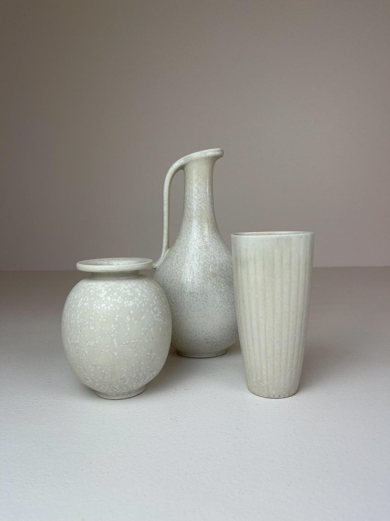 Mid-Century Modern Midcentury Set of 3 Ceramic Pieces Rörstrand Gunnar Nylund, Sweden, 1950s For Sale