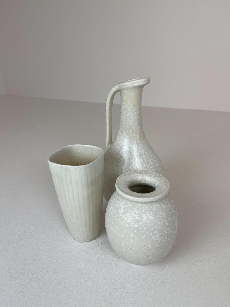 Midcentury Set of 3 Ceramic Pieces Rörstrand Gunnar Nylund, Sweden, 1950s In Good Condition For Sale In Langserud, SE