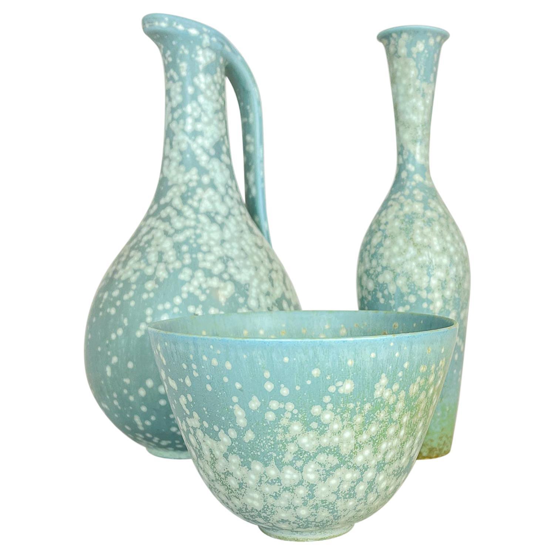 Midcentury Set of 3 Ceramic Pieces Rörstrand Gunnar Nylund, Sweden, 1950s
