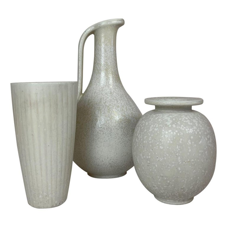 Midcentury Set of 3 Ceramic Pieces Rörstrand Gunnar Nylund, Sweden, 1950s For Sale