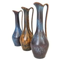 Midcentury Set of 3 Ceramic Vases Rörstrand Gunnar Nylund, Sweden