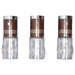 Midcentury Set of 3 Wall Lamps in Brown Metal with Murano Glass Cups Italy 1970s