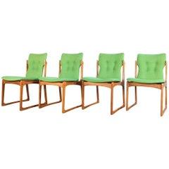 Midcentury Set of 4 Chairs in Teak by Vamdrup with Original Hallingdal Fabric