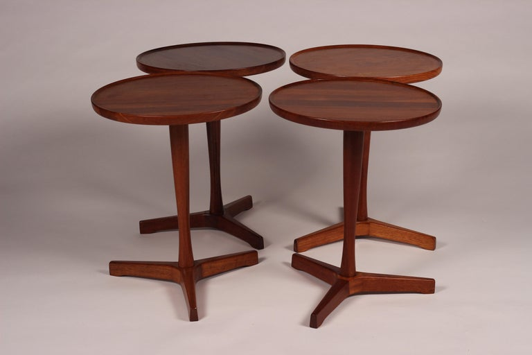 Midcentury Set of 4 Danish Teak Side Tables Designed by Hans C Andersen In Good Condition For Sale In London, GB