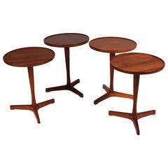 Midcentury Set of 4 Danish Teak Side Tables Designed by Hans C Andersen