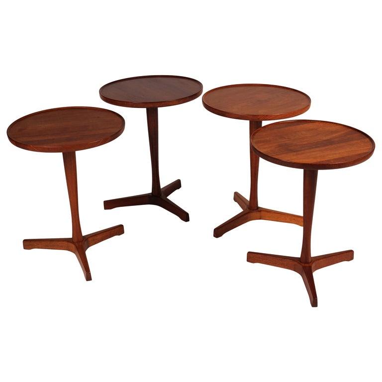 Midcentury Set of 4 Danish Teak Side Tables Designed by Hans C Andersen For Sale