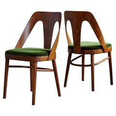 Midcentury Set of 4 Dining Chairs in Juicy Green Mohair by Kvadrat