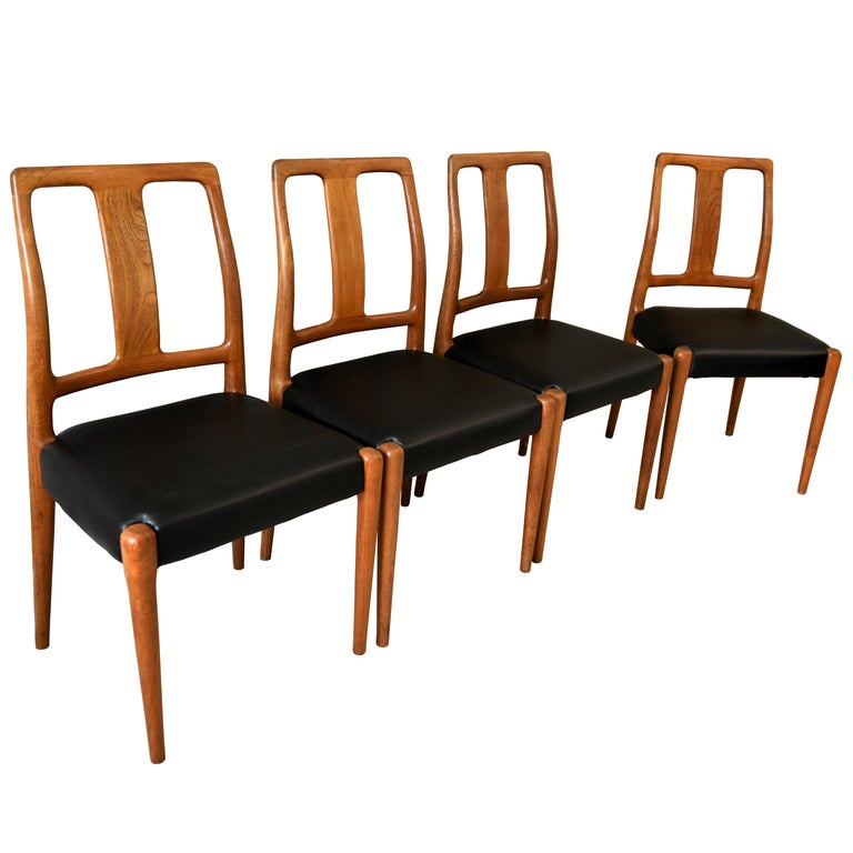 Midcentury Set Of 4 Solid Teak Dining Chairs By D Scan For
