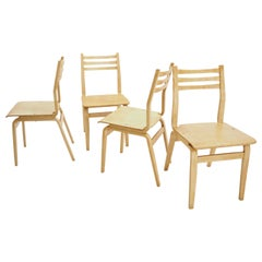 Midcentury Set of 4 Wood Dining Room Chairs 1970s