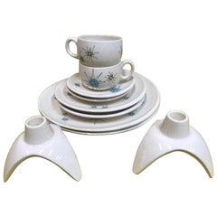 Midcentury Set of 5 Franciscan Starburst Dinnerware with Matching Candleholders