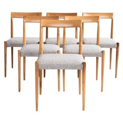 Midcentury Set of 6 Chairs by Lübke in Solid Wood with New Grey Fabric