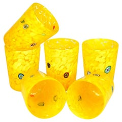 "Midcentury Set of 6 ""Goti De Fornasa"" Yellow Murano Drinking Glasses Tumbler"