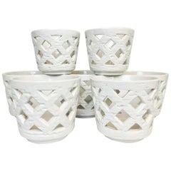"""Midcentury Set of 7 Vases/Flower Pots """"Chamotte"""" Rörstrand Gunnar Nylund, Sweden"""