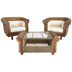 Midcentury Set of Big Armchairs with Matching Coffee Table, Rattan and Wood